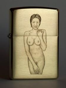 Nude engraving on Zippo