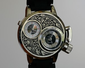 Hand engraved wrist watch-