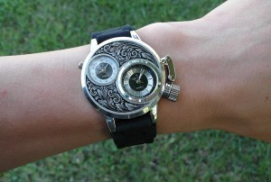 Wearing hand engraved watch