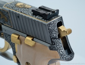 Back view of frame and slide engraving on Sig Sauer P226
