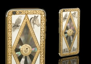 Engraved iPhone 6 with silver corners and Mother of Pearl mosaic. Arabian horse and falcon engravings